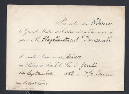 Muhammed Tewfik Pasha Khedive of Egypt 1882 Invites British Officer Lieutenant